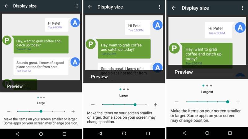 Android N changer la taille de l'écran