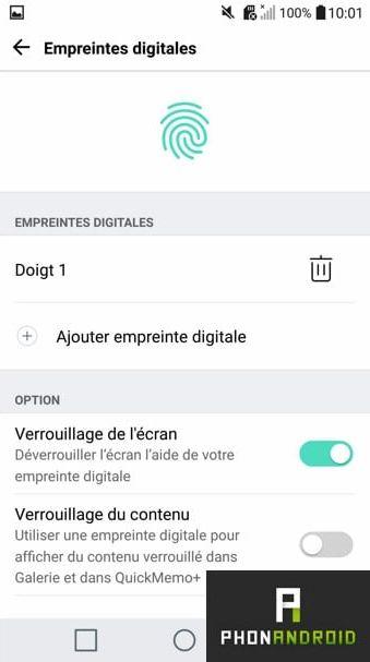 LG G5 empreinte digitale