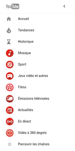 youtube material design menu