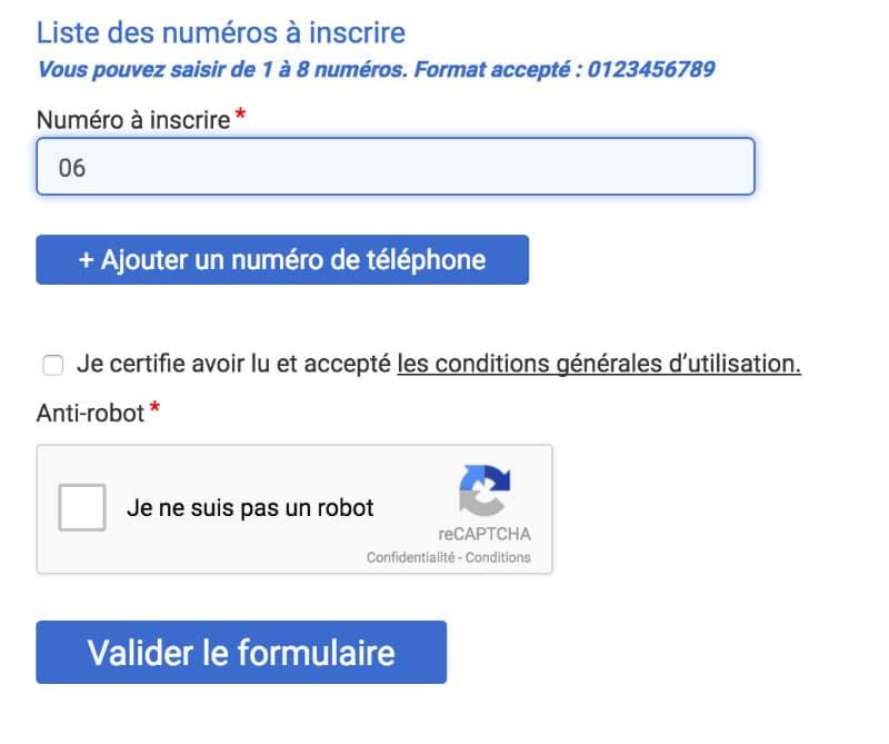 bloctel formulaire