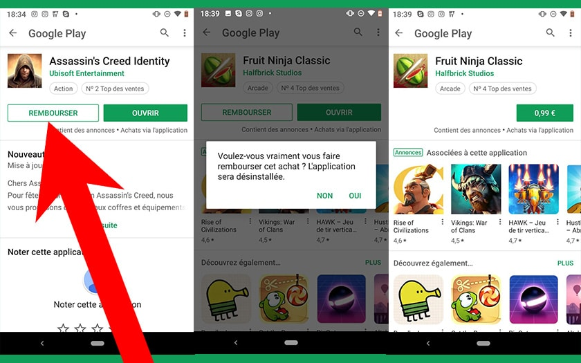 google play store rembourser application