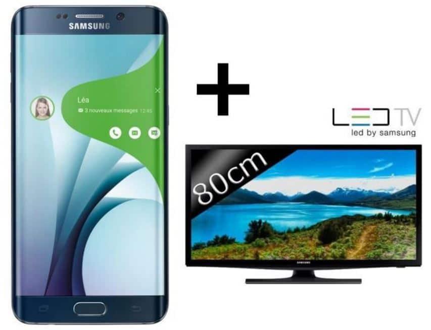 samsung galaxy S6 edge+ avec tv samsung led hd 32 pouces