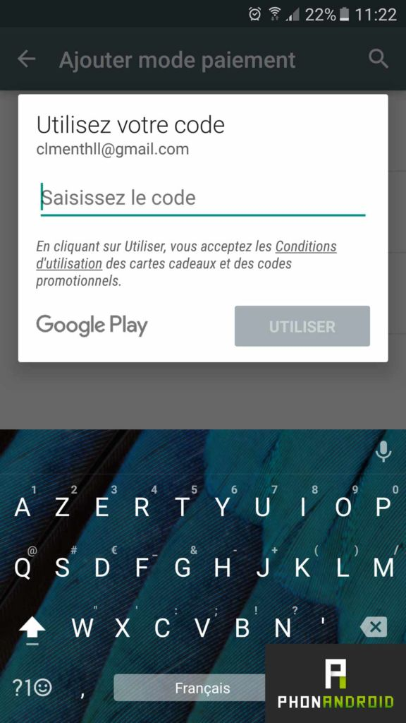 code paiement promotionnel google play