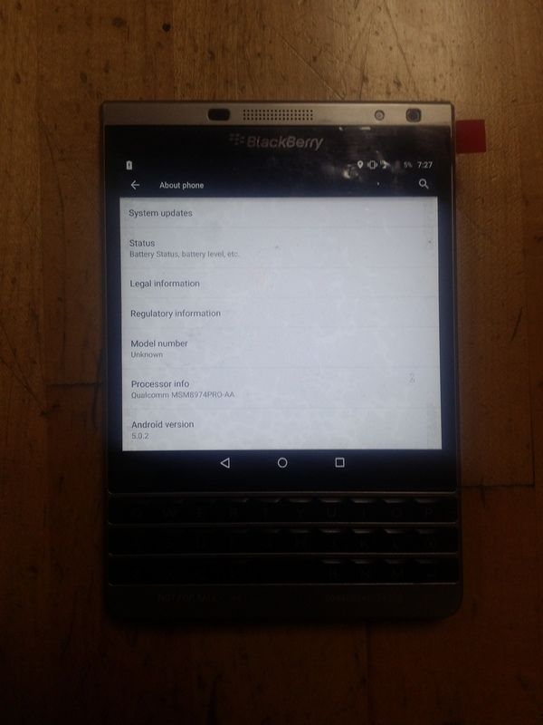 blackberry passport parametres