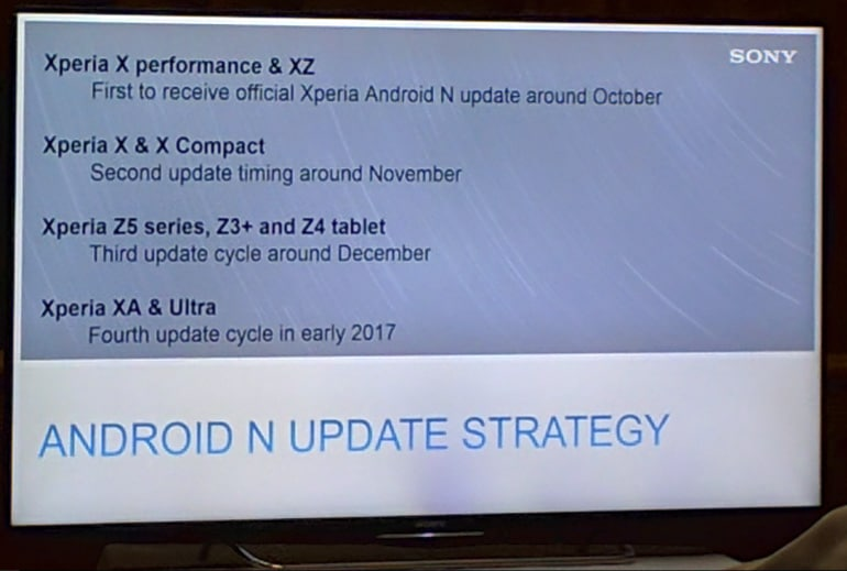 sony xperia android nougat mise a jour