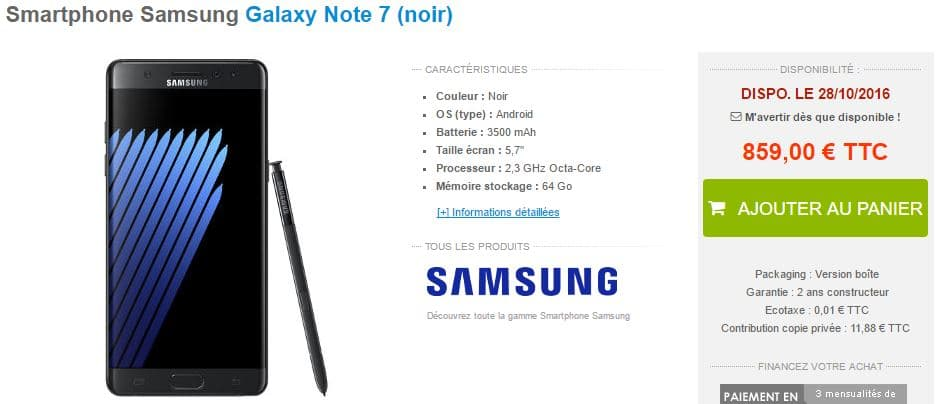 galaxy note 7 materiel