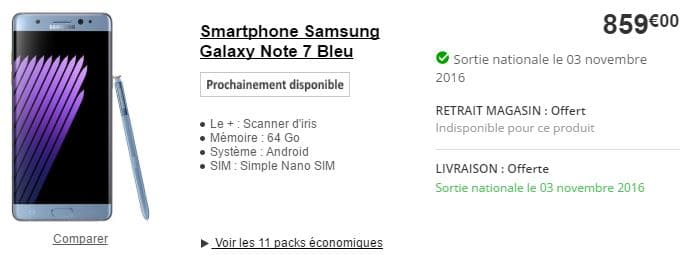 galaxy note 7 boulanger