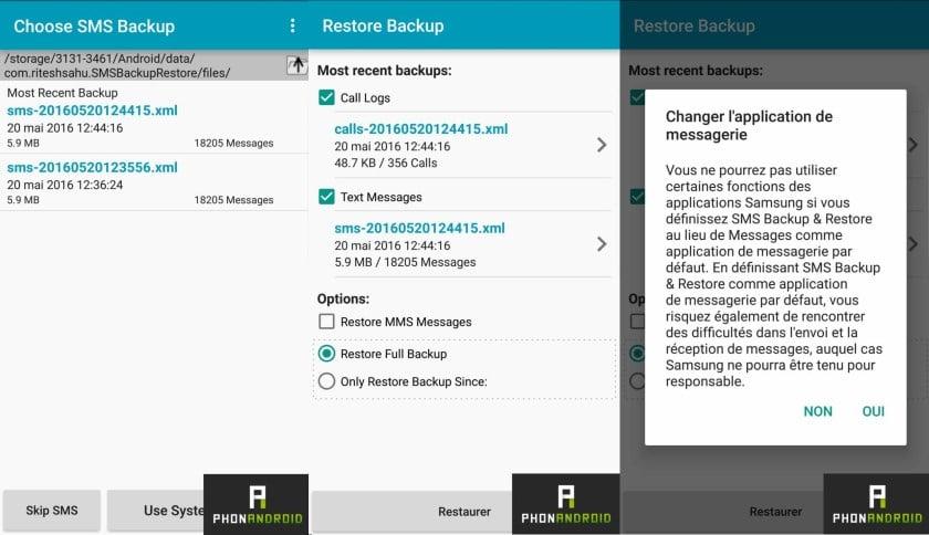 sauvegarder restaurer sms