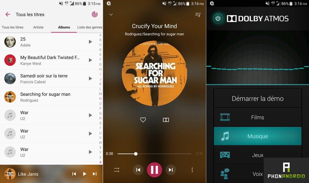 zte axon 7 audio musique