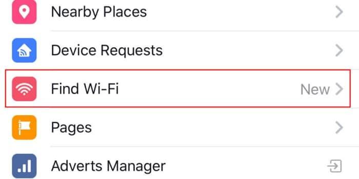 find wifi facebook