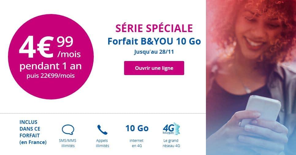 Un forfait 4G 10 Go à 4,99€/mois pendant 1 an — B&You