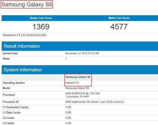 galaxy s6 nougat geekbench