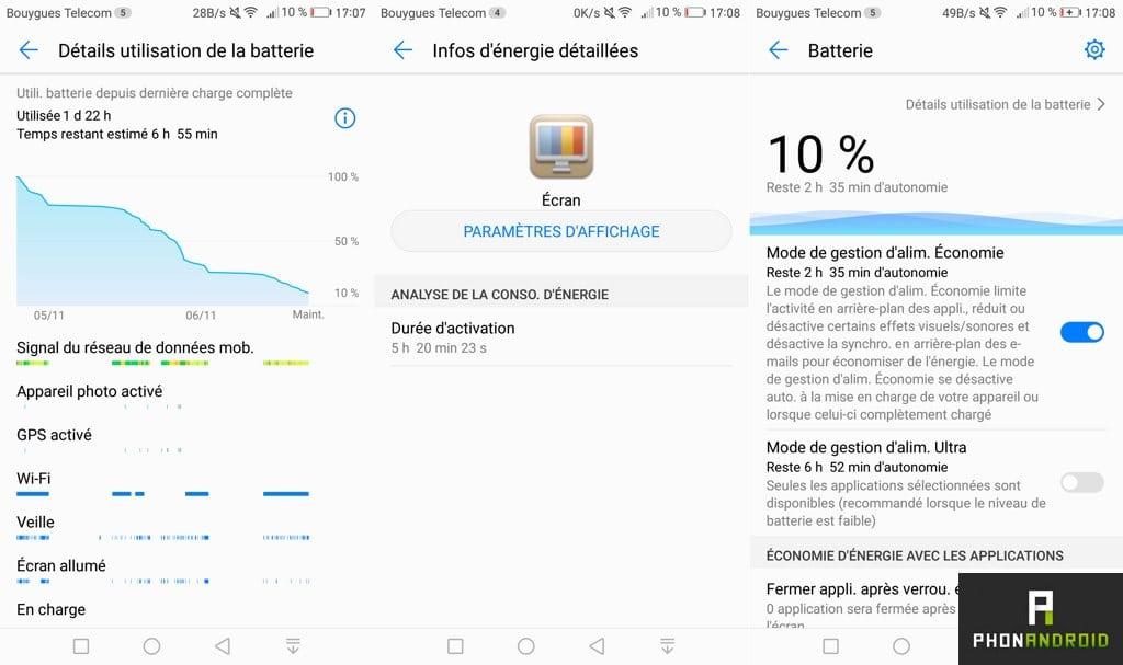 huawei mate 9 batterie autonomie