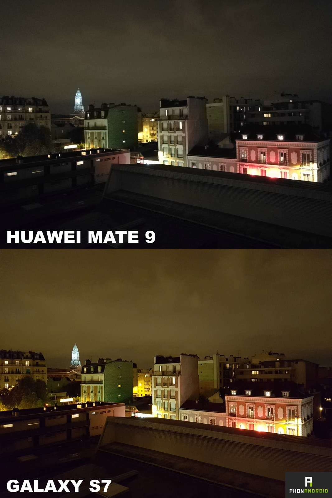 huawei mate 9 galaxy s7 photo nuit