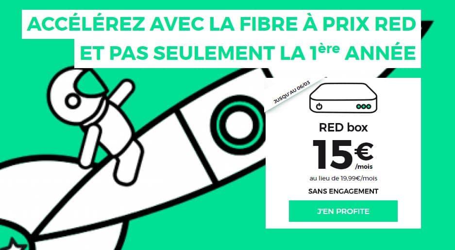 abonnement internet fibre SFR RED àç 15 € / mois à vie