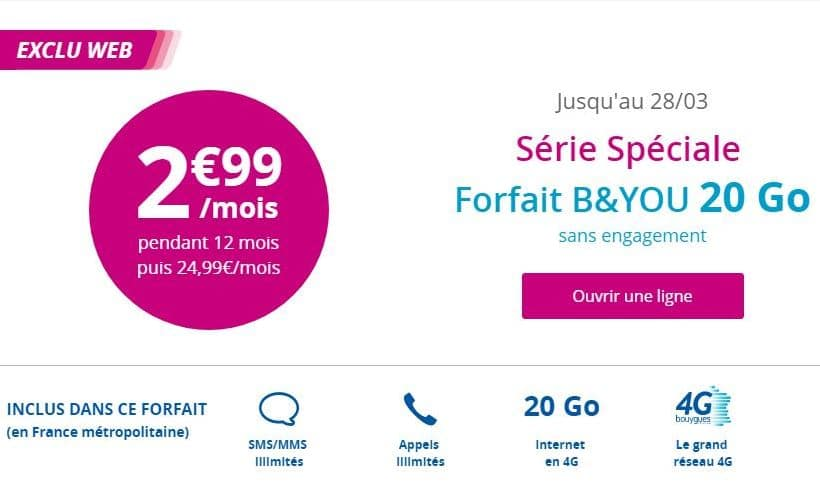 forfait b and you 20 à 2.99 €