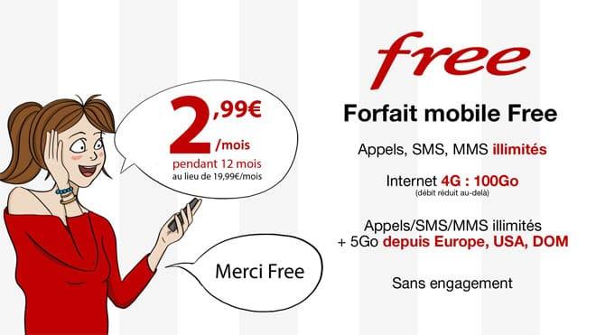 vente privee free mobile forfait illimité + 100 Go d'internet en 4G