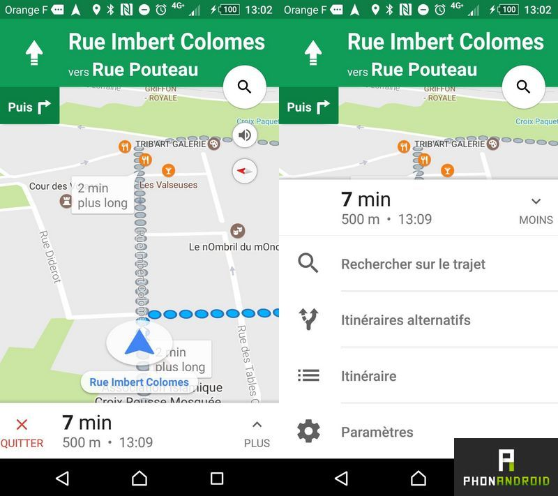 google maps interface