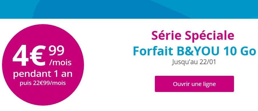 forfait B&You 10 Go à 4.99 € / mois pendant 1 an
