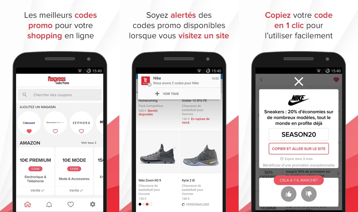 lexpress codes promo appli