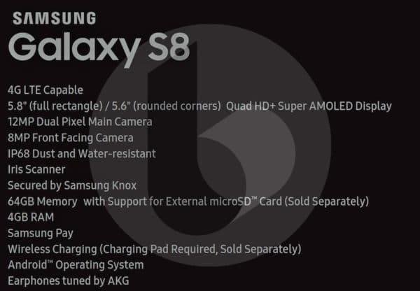 fiche technique galaxy s8