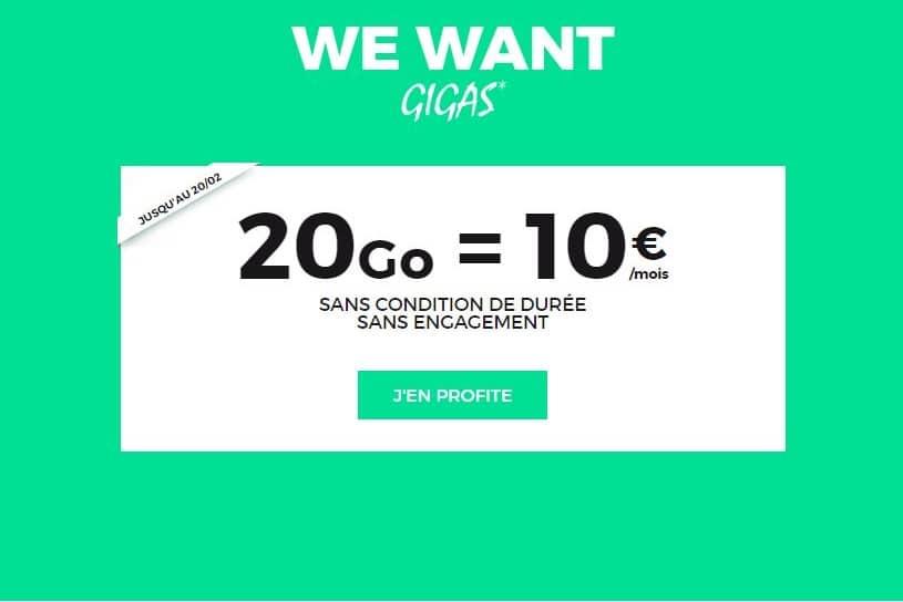 Forfait SFR RED 20 Go à 10 € / mois