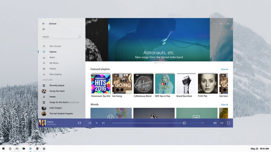 windows 10 interface