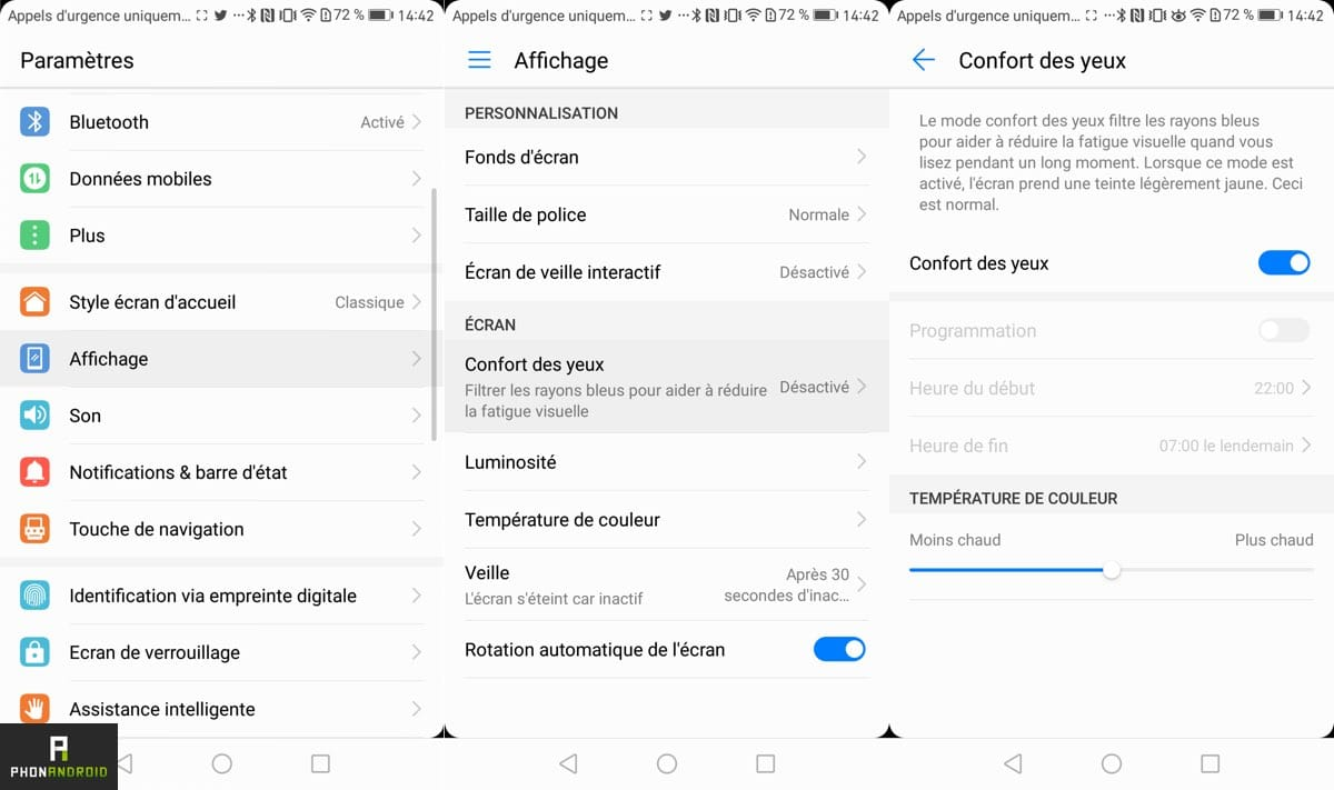 emui 5 protection yeux fonctionnalite
