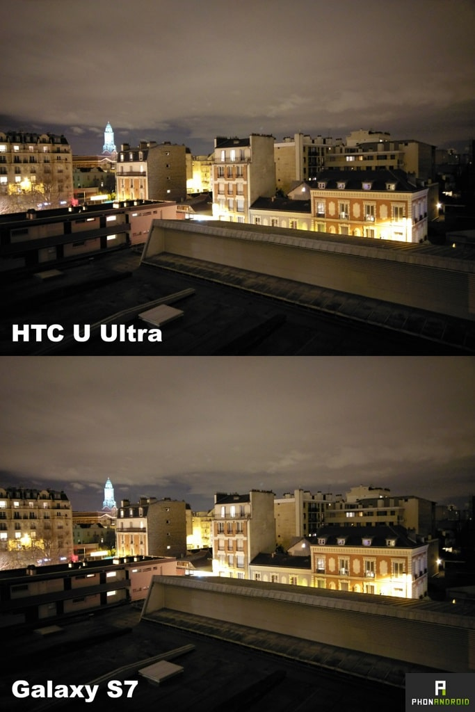 htc u ultra photo nuit galaxy s7