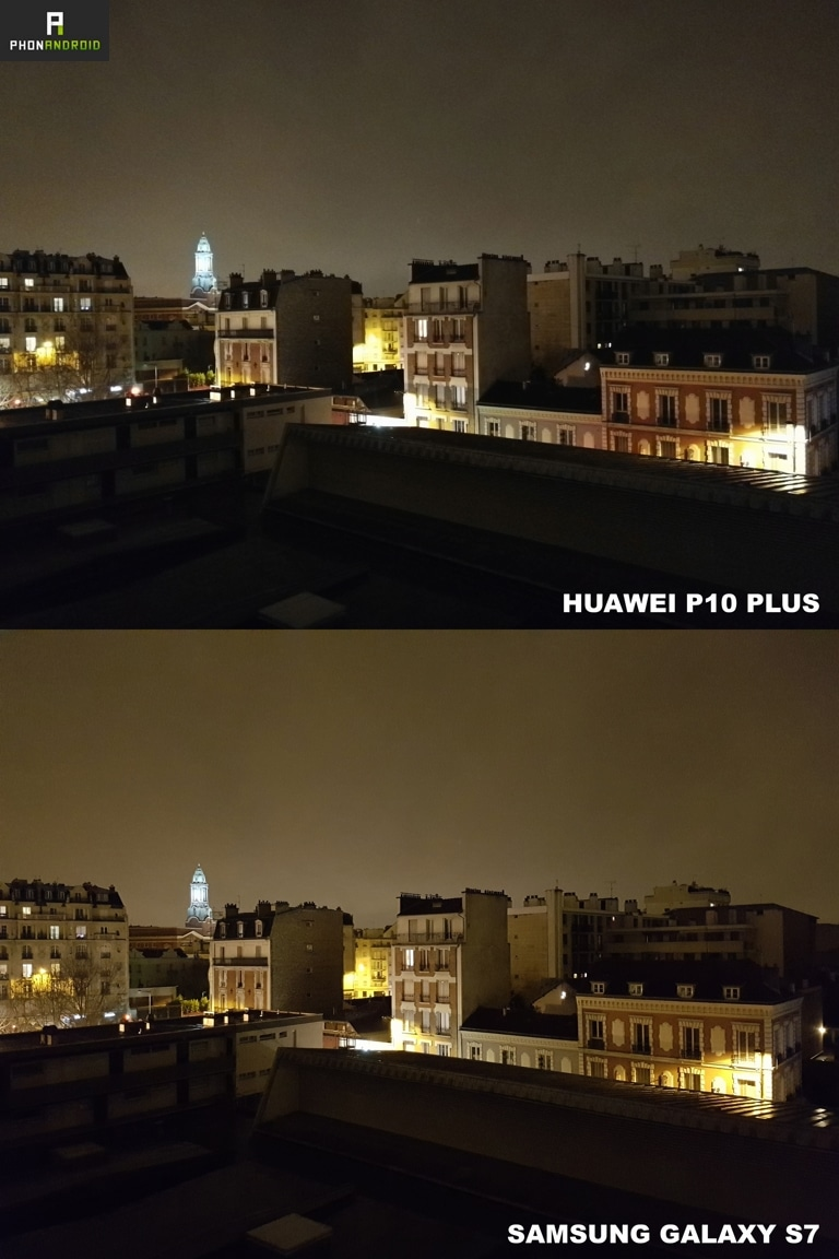 huawei p10 plus galaxy s7 photo nuit