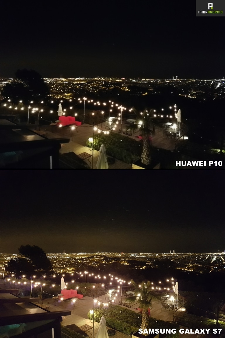 test huawei p10 photo vs galaxy s7 nuit