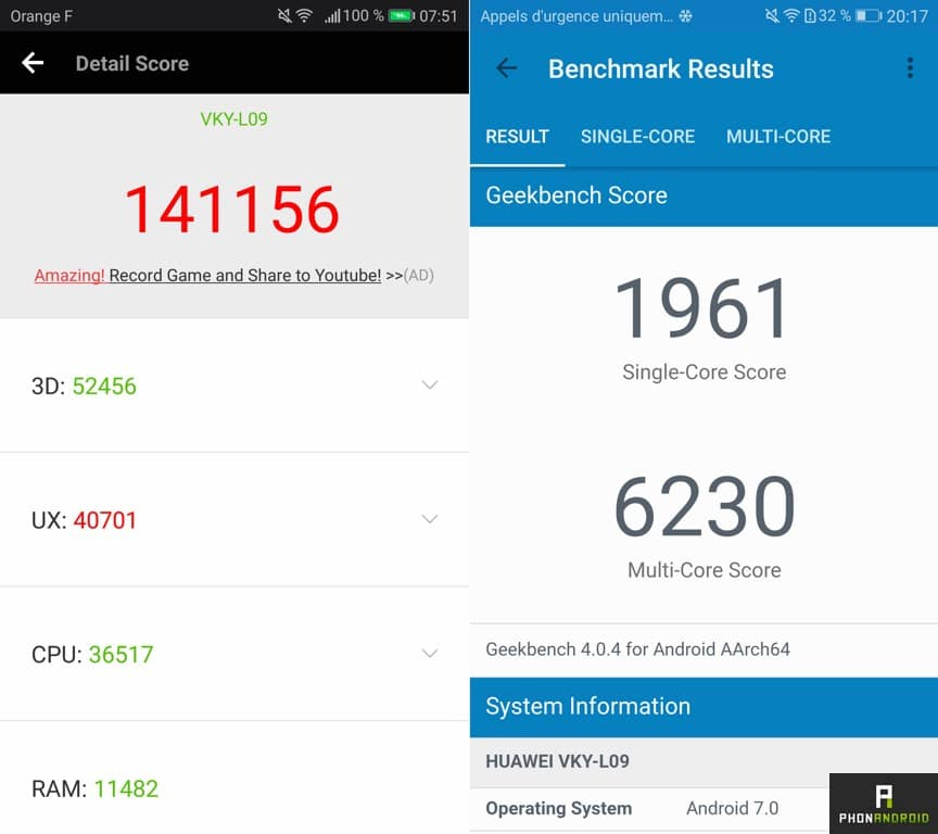test huawei p10 plus benchmark antutu