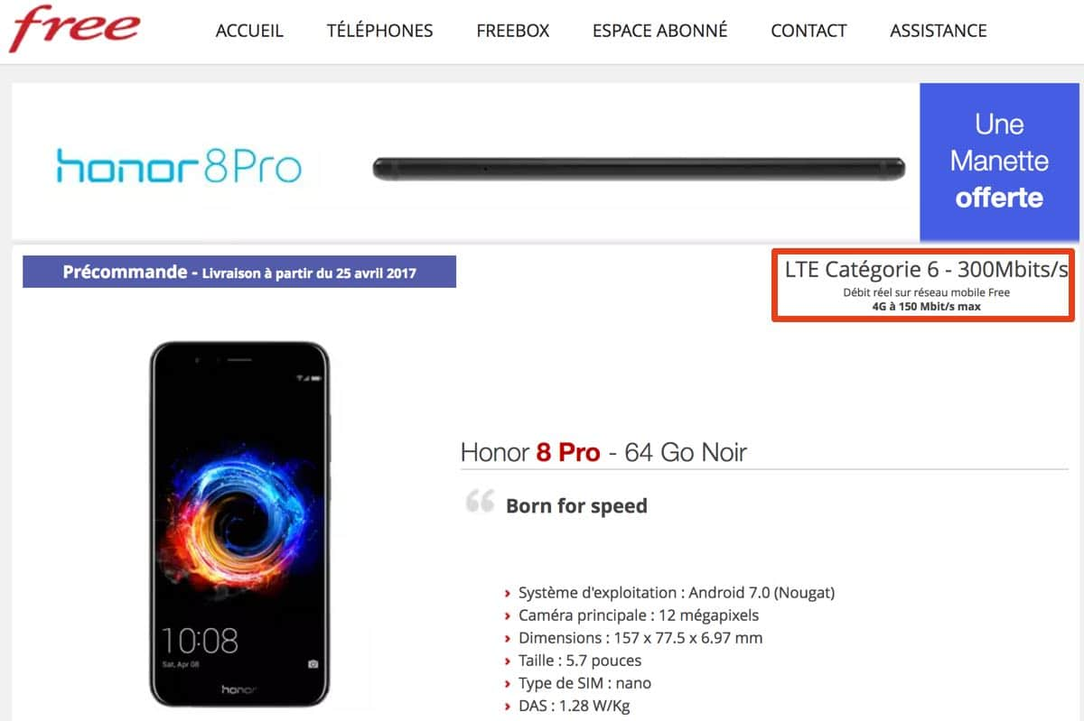 free mobile honor 8 pro