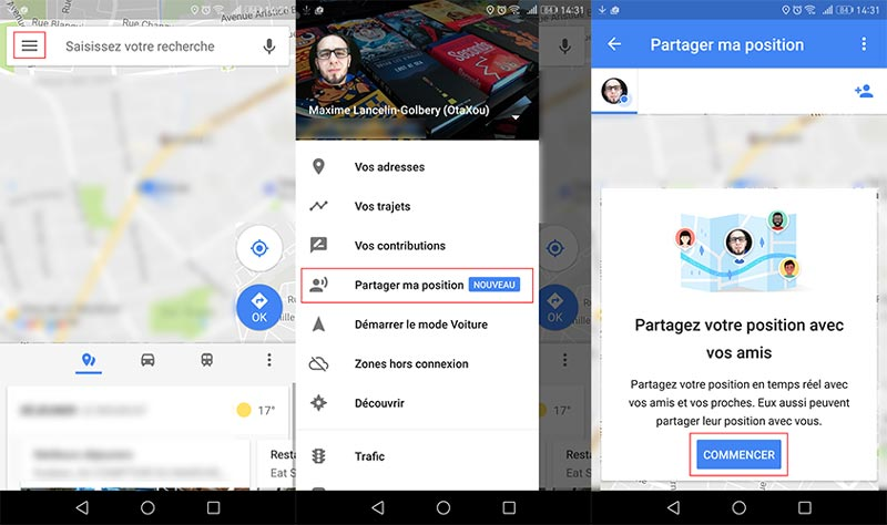 partager localisation windows phone