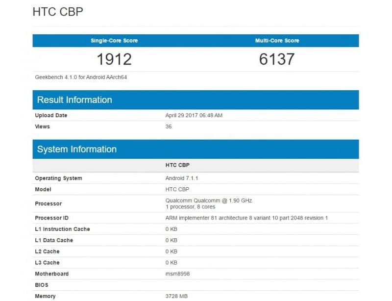 HTC U 11 Geekbench