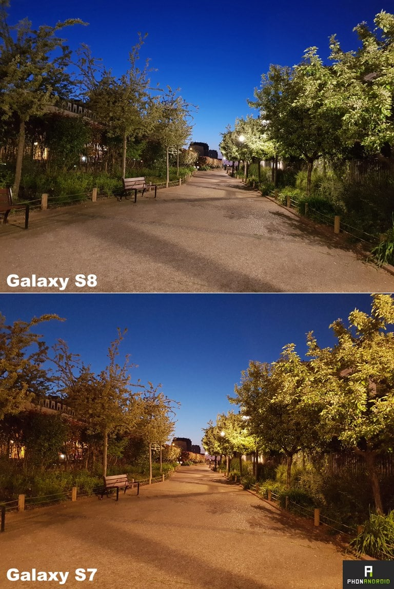 samsung galaxy s8 vs S7 photo nuit