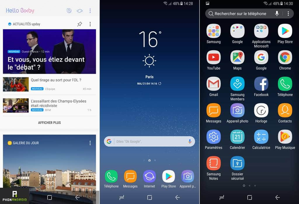 test samsung galaxy s8 interface