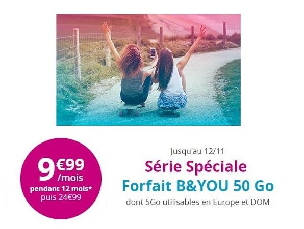 bouygues telecom forfait 50 go 9.99 euros par mois pendant 1 an