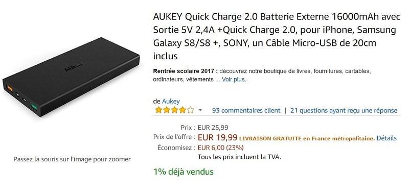 batterie aukey amazon 16 000 mah