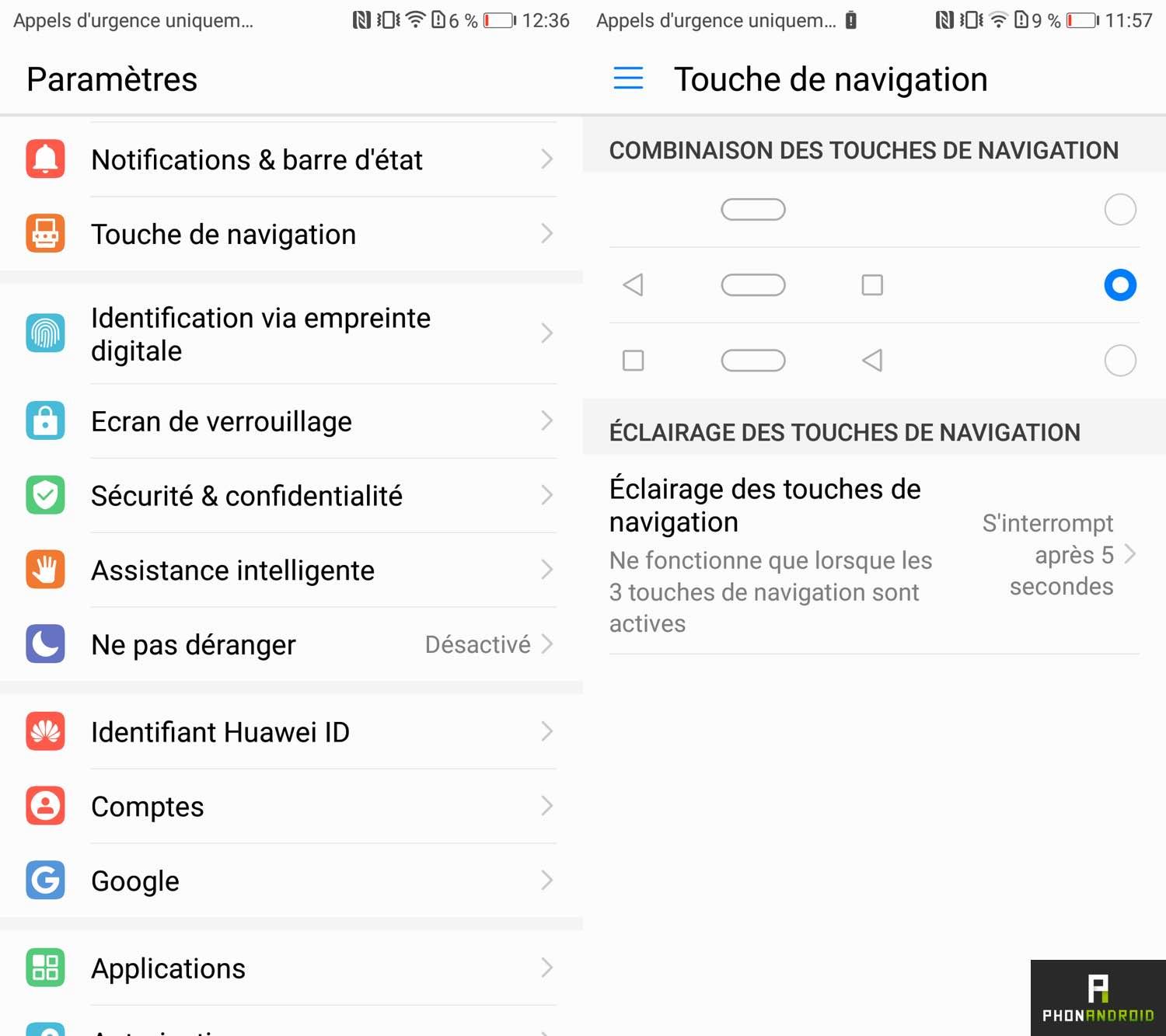 test honor 9 interface capteur empreintes
