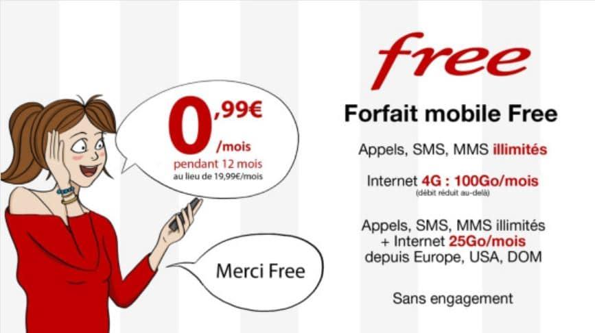 vente privée free mobile forfait 100 Go internet en 4G à 0.99€