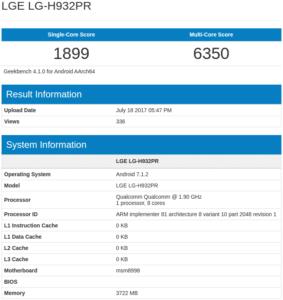 LG V30 Geekbench