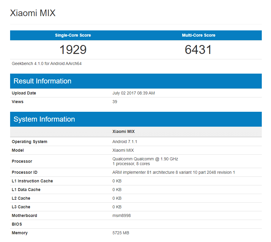 Xiaomi Mi Mix 2 benchmark