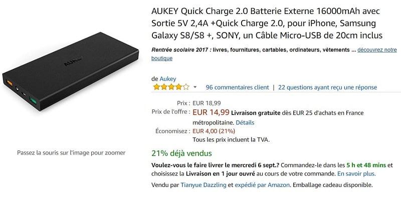 aukey batterie amazon