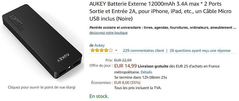 batterie externe aukey 12 000 mah