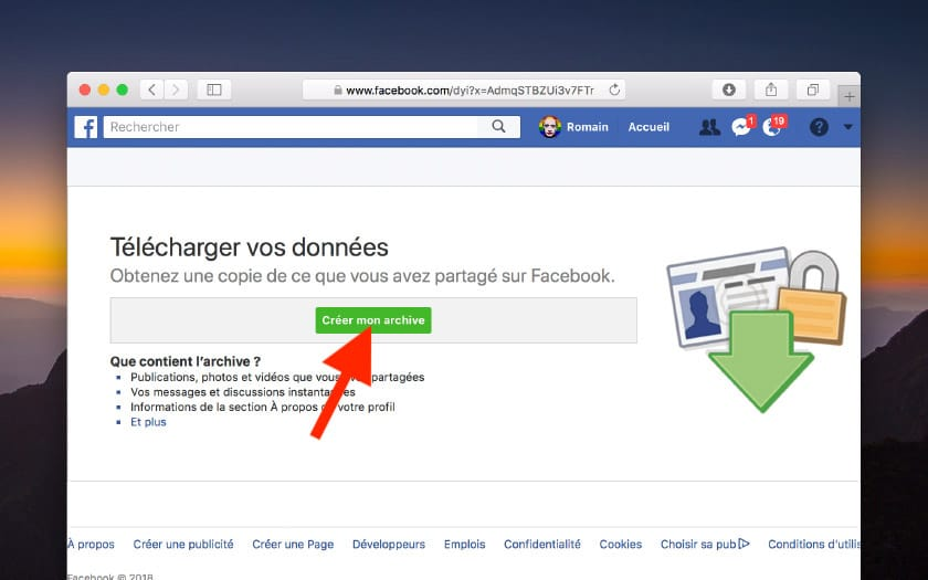 facebook creer archive
