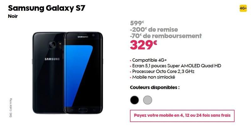 Samsung galaxy s7 offre clients sosh 329 euros