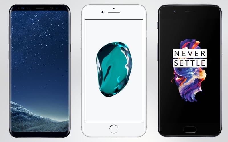 galaxy s8 iphone 7 oneplus 5