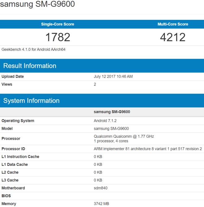 samsung sm g-9600 galaxy s8 lite benchmark snapdragon 840