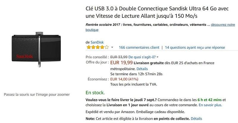 sandisk cle usb double connectique